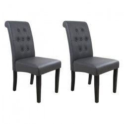 CUBA Lot de 2 chaises de salle a manger - Simili gris - Style contemporain - L 45 x P 42 cm