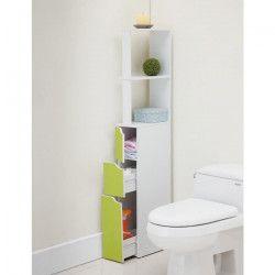 TOP Colonne de toilette L 15 cm - Blanc et vert clair mat