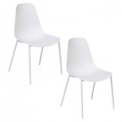 SURF Lot de 2 Chaises de salle a manger - Blanc - Style contemporain - L 49 x P 52 cm