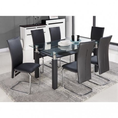 en promo pacific ensemble table a manger 6 personnes 150x90 cm 6 chaises en simili noir