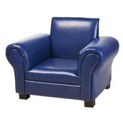 Fauteuil club enfant - Simili bleu - Contemporain - L 58 x P 43 cm