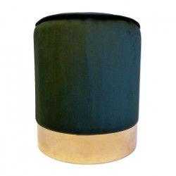 Pouf velours Windsor - Avec socle doré - Ø 35 x 40 cm - Vert émeraude