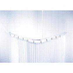Barre de douche d`angle coulissantes + crochets - 90 x 90 x 90cm - Blanche