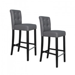 ELVIS Lot de 2 tabourets de bar - Simili gris boutons - Contemporain - L 39 x P 49,5 cm