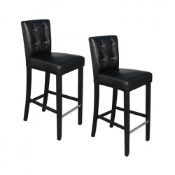 ELVIS Lot de 2 tabourets de bar - Simili noir boutons - Contemporain - L 39 x P 49,5 cm
