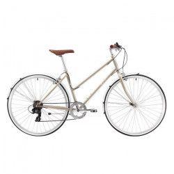 REID Vélo vintage Esprit 7 vitesses - Femme - Beige champagne - Taille MEDIUM