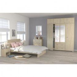COSMOS Chambre complete 140 x 200 cm - Contemporain - Décor chene - 2 chevets L 39 cm, 1 commode L 76,5 cm et 1