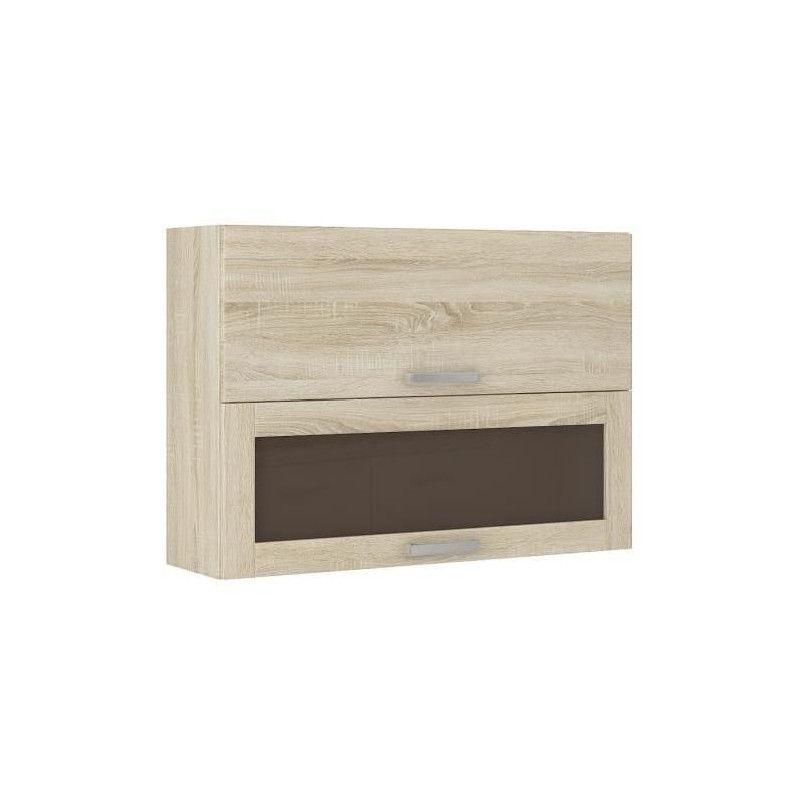 Lassen meuble haut vitr de cuisine l 80 cm d cor - Hauteur des meubles haut cuisine ...