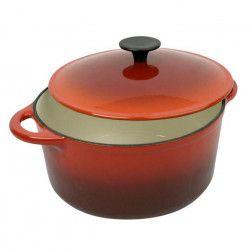 CREALYS GRAND CHEF Cocotte ronde en fonte d`acier émaillée - Ø 32 cm - 9 L - Rouge - Tous feux dont induction