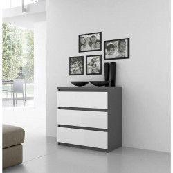 FINLANDEK Commode de chambre NATTI style contemporain gris mat et blanc brillant - L 77,2 cm