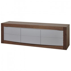 ASTONE Meuble TV LED contemporain décor noyer et gris - L 150 cm