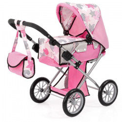 BAYER Poussette Landau pour poupée City Star étoiles rose réglable avec un sac a bandouliere