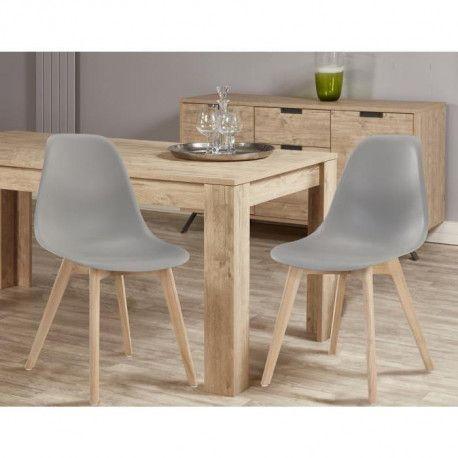 SACHA Lot de 2 chaises de salle a manger gris Pieds en bois hévéa massif Scandinave