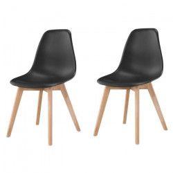 SACHA Lot de 2 chaises de salle a manger noir - Pieds en bois hévéa massif - Scandinave - L 48 x P 55 cm