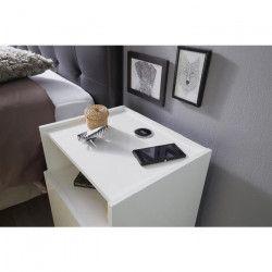 JOY Chevet connecté contemporain blanc brillant - L 42 cm