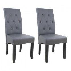 CUBA Lot de 2 chaises de salle a manger - Simili gris - Style contemporain - L 49 x P 65 cm