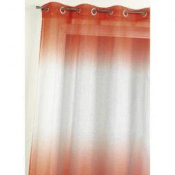 Voilage Etamine imprimé - Orange - H 140 x L 240 cm