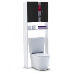 CORAIL Meuble WC ou machine a laver L 63 cm - Noir laqué