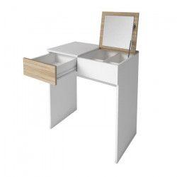 SARA Coiffeuse style contemporain - Blanc mat et décor chene clair - L 70 cm
