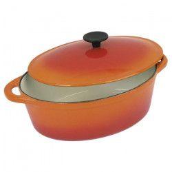 CREALYS GRAND CHEF Cocotte ovale en fonte d`acier émaillée - L 32 cm - 6,5 L - Orange - Tous feux dont induction