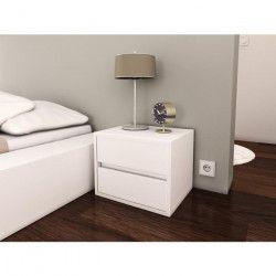 POP Chevet contemporain mélaminé blanc mat - L 40 cm