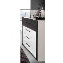 RECOVER Commode de chambre style contemporain décor chene noir et blanc - L 110 cm