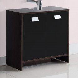 TOP Meuble sous-vasque L 60 cm - Décor wengé et noir mat