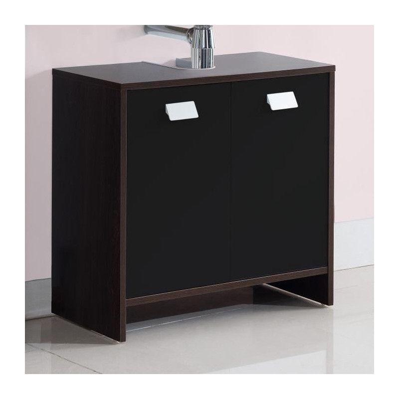 top meuble sous vasque l 60 cm d cor weng et noir. Black Bedroom Furniture Sets. Home Design Ideas