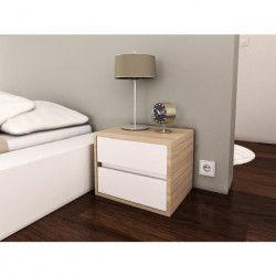 POP Chevet contemporain mélaminé blanc mat et décor chene sonoma - L 40 cm