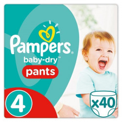 PAMPERS Baby Dry Pants Taille 4 - 8 a 15kg - 40 couches - Format pack Géant