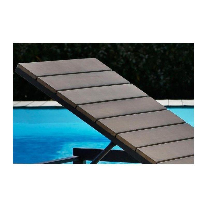 Bain de soleil aluminium et nowood couleur gris 200 x 62 x 33 cm ...