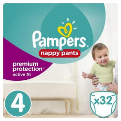 PAMPERS Premium Active Fit Pants Taille 4 - De 8 a 14 kg - 32 Couches-Culottes