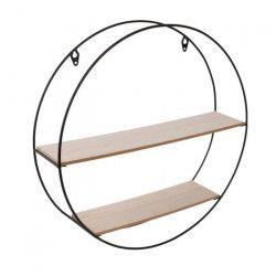THE HOME DECO FACTORY Étagere ronde en bois et métal - 40 x 10 x 40 cm - Noir et beige