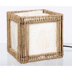 Lampe carré en corde + diffuseur plastique 20x20cm