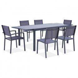 Ensemble repas de jardin - table de jardin extensible 180-240 cm avec 2 fauteuils et 4 chaises - Gris