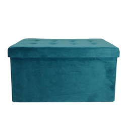 COTTON WOOD Banc Coffre pliable Velours - 76 x 38 x 38 cm - Bleu Canard