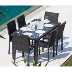 ARCACHON Ensemble table de jardin 6 places acier et résine tressée - Noir