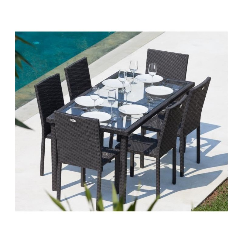 Ensemble table de jardin 6 chaises acier et r sine tress e gris anthracite royalprice - Chaise de jardin gris anthracite ...