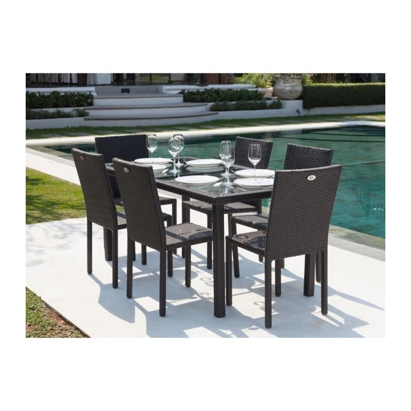 ensemble table de jardin 6 chaises acier et r sine tress e gris anthracite royalprice. Black Bedroom Furniture Sets. Home Design Ideas