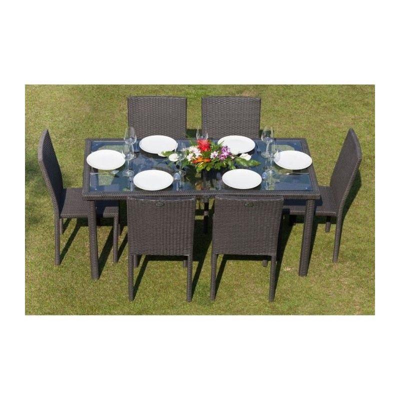ensemble table de jardin 6 chaises acier et r sine tress e gris anthracite royalprice. Black Bedroom Furniture Sets. Home Design Ideas