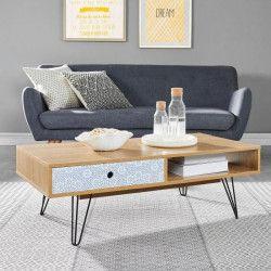 COLETTE Table basse vintage décor chene et imprimé + pieds en métal laqué noir - L 110 cm
