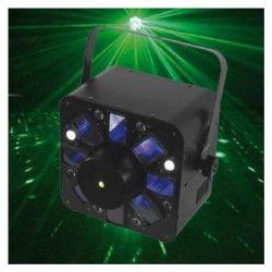 AFX COMBO-LED Jeu de lumiere Combo a LED RGBWA multifaisceaux / Stroboscope / Laser multipoints rouge et vert