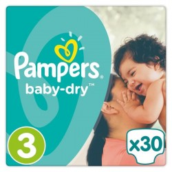 PAMPERS Baby-Dry Taille 3 - 5 a 9 kg - 30 couches