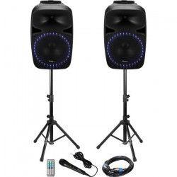 IBIZA PKG15A-SET Systeme de sonorisation avec tuner fm, lecteur usb /sd + bluetooth 15` / 38cm, 2 x 500w - Noir
