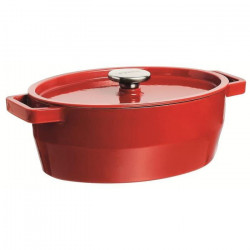 PYREX Cocotte ovale Slow Cook - 3,8 L - Rouge - Tous feux dont induction