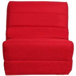 ROMA Banquette convertible BZ 1 place - Tissu rouge - Contemporain - L 80 x P 96 cm