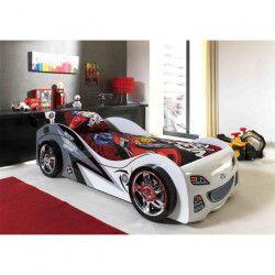 FUN Lit voiture enfant style junior blanc - l 90 x L 200 cm
