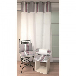 SOLEIL D`OCRE Rideau a oeillets Stripes 100% coton 140x240 cm gris