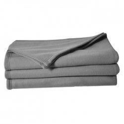 Couverture maille polaire 180x220 cm gris