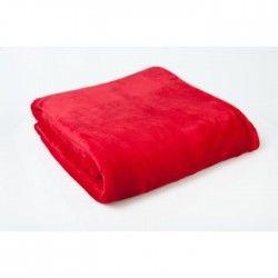 Plaid microfibre grand luxe uni 130x160 cm rouge foncé